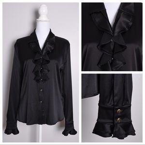 St John Silk Ruffle Button Down Front Dress Shirt